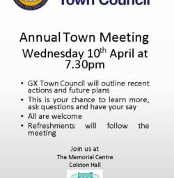Image for GX Town Council Annual Town Meeting – Wednesday, 10th April @ 7:30pm